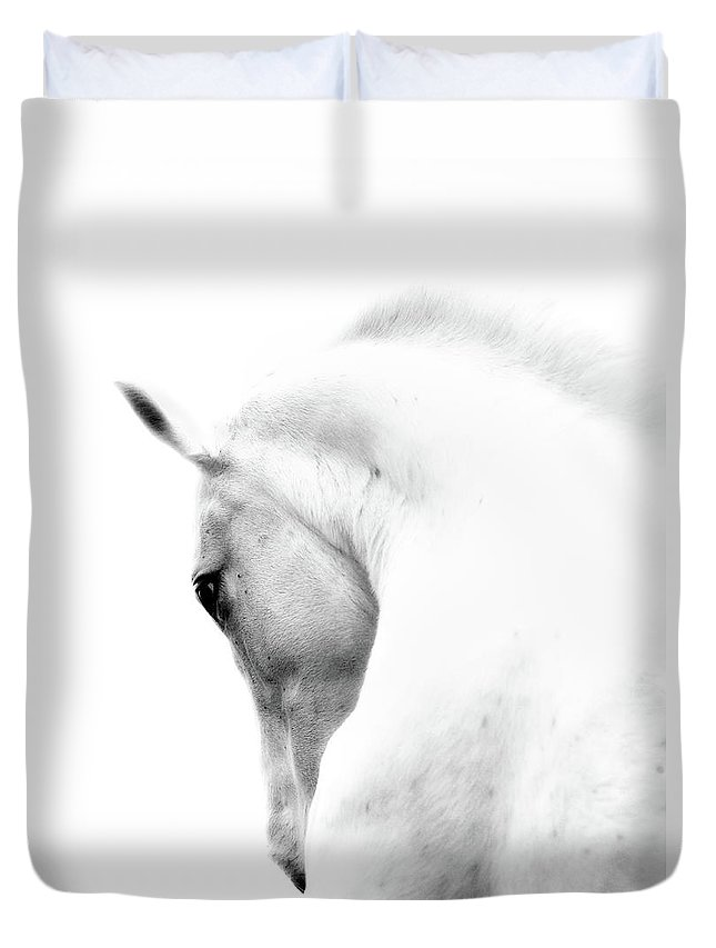 Horse Duvet Cover featuring the photograph White Stallion Andalusian Horse Neck by 66north