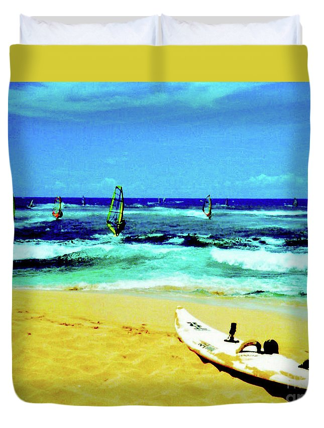 Windsurfing Duvet Cover featuring the photograph Windsurfing by Jerome Stumphauzer