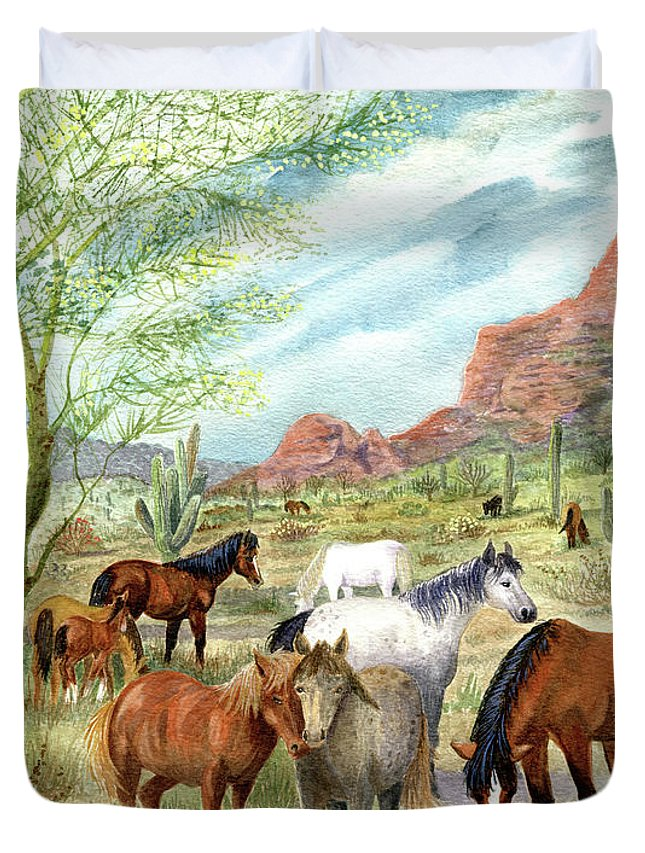 Wild Horses Duvet Cover featuring the painting Wild And Free Forever by Marilyn Smith