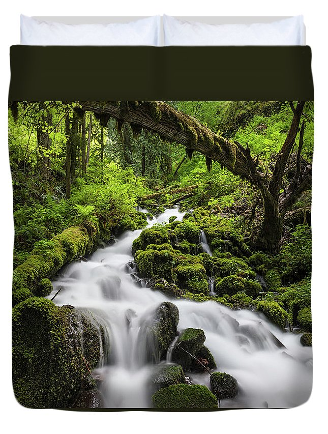 Scenics Duvet Cover featuring the photograph Wild Forest Waterfall Idyllic Green by Fotovoyager