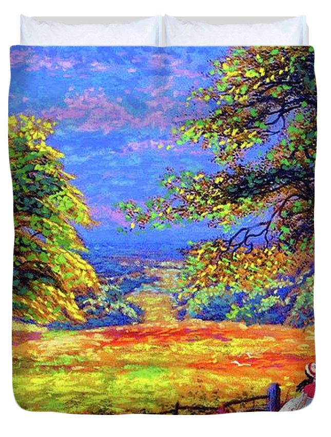 Wildflower Duvet Cover featuring the painting Wildflower Fields by Jane Small