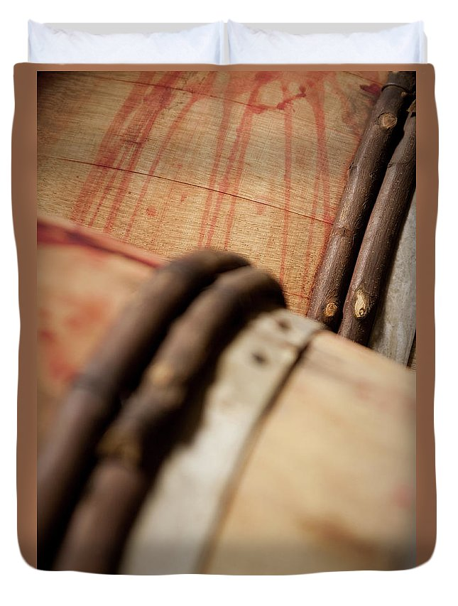Fermenting Duvet Cover featuring the photograph Wine Barrels by Chrispecoraro