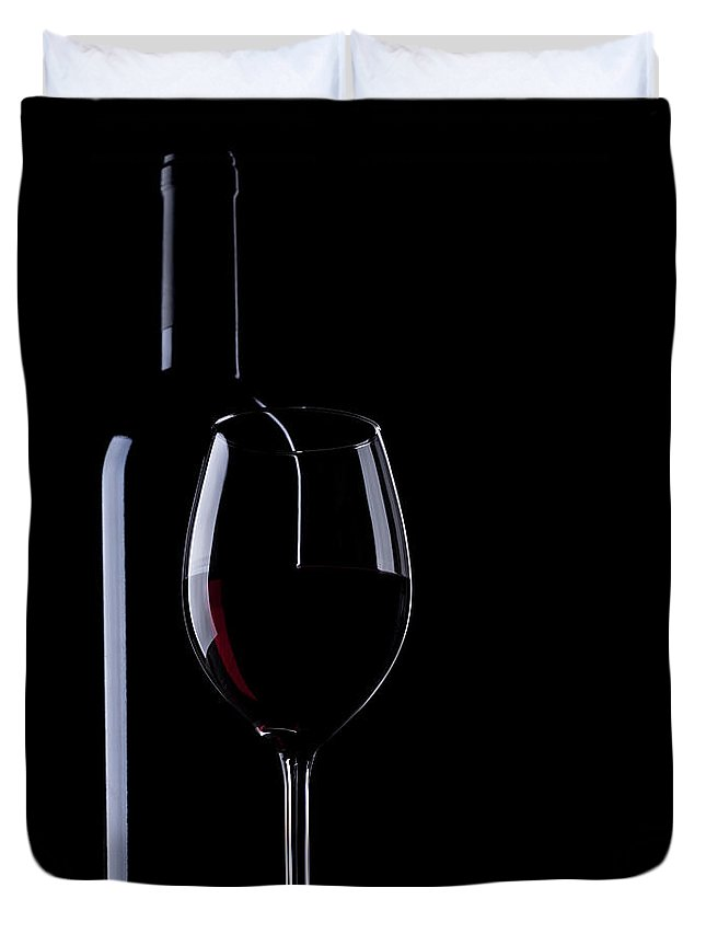 Curve Duvet Cover featuring the photograph Wine Bottle And Glass by Portishead1