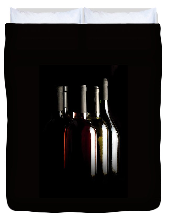Rose Wine Duvet Cover featuring the photograph Wine Bottles by Carlosalvarez