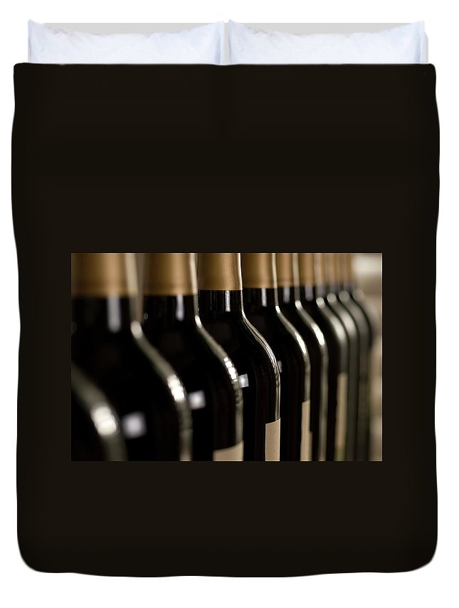 Alcohol Duvet Cover featuring the photograph Wine Bottles by Klh49