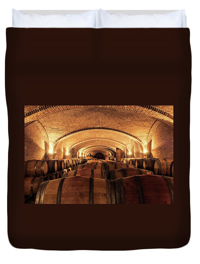 Arch Duvet Cover featuring the photograph Wine Cellar by Alexd75