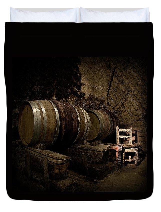 Fermenting Duvet Cover featuring the photograph Wine Cellar by Fotografias De Rodolfo Velasco