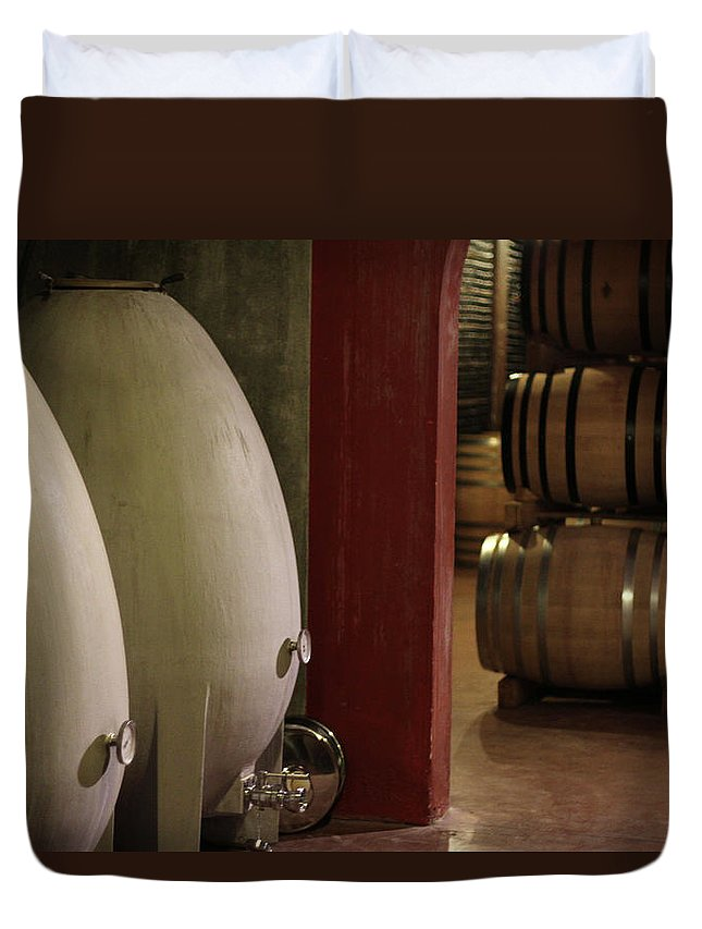 Aging Process Duvet Cover featuring the photograph Wine Cellar by Tom And Steve