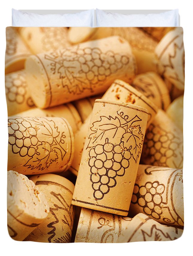 Wine Cork Duvet Cover featuring the photograph Wine Corks, Close-up, Full Frame by Peter Dazeley