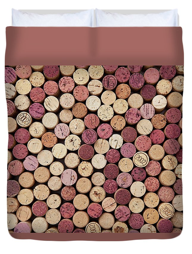 In A Row Duvet Cover featuring the photograph Wine Corks by Dem10