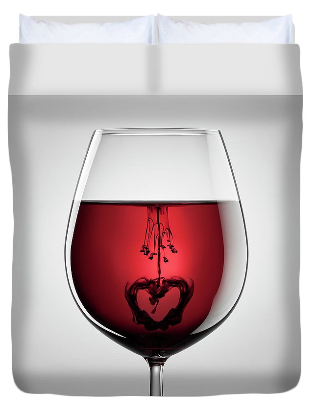 Mixing Duvet Cover featuring the photograph Wineglass, Red Wine, Black Ink And by Thomasvogel