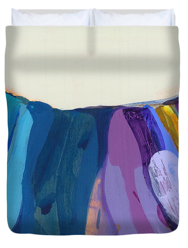 Abstract Duvet Cover featuring the painting With Joy by Claire Desjardins