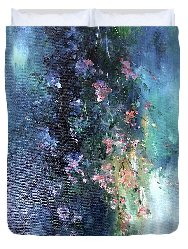 Love Duvet Cover featuring the painting The Blues. With love and affection, a gift of flowers, from the heart. by Lizzy Forrester