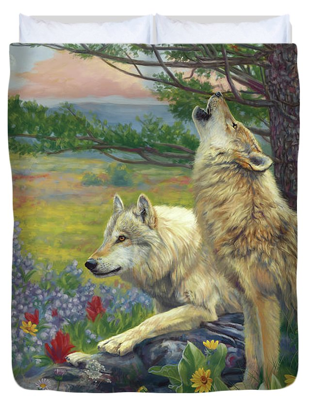 Wolf Duvet Cover featuring the painting Wolves in the Spring by Lucie Bilodeau