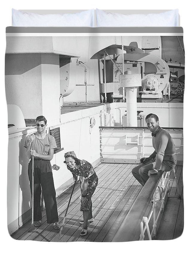 Young Men Duvet Cover featuring the photograph Woman And Two Men On Cruiser Deck, B&w by George Marks
