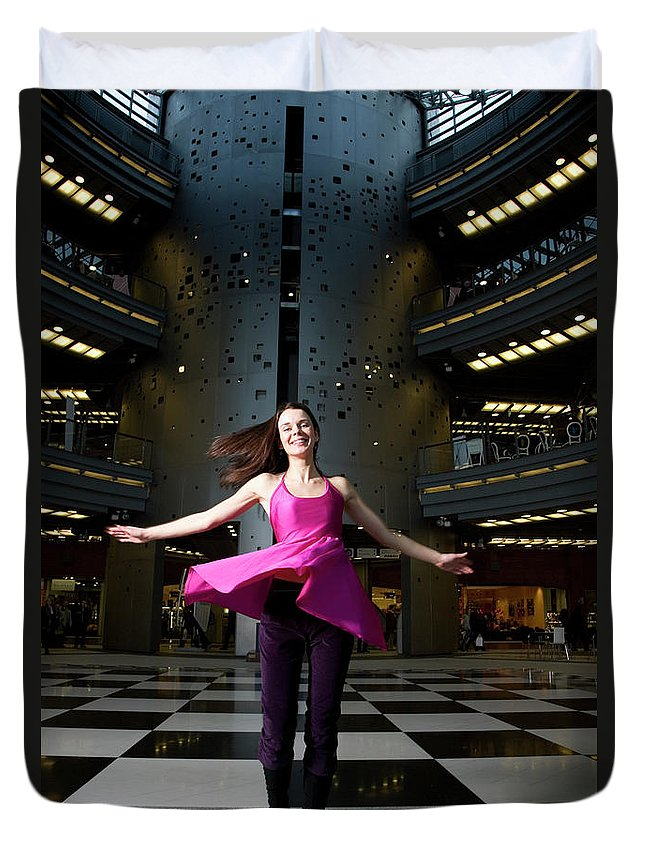 People Duvet Cover featuring the photograph Woman Dancing In Old Brewery Shopping by Tim E White