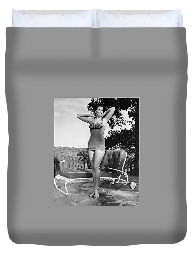 People Duvet Cover featuring the photograph Woman In Bathing Suit Outdoors by George Marks