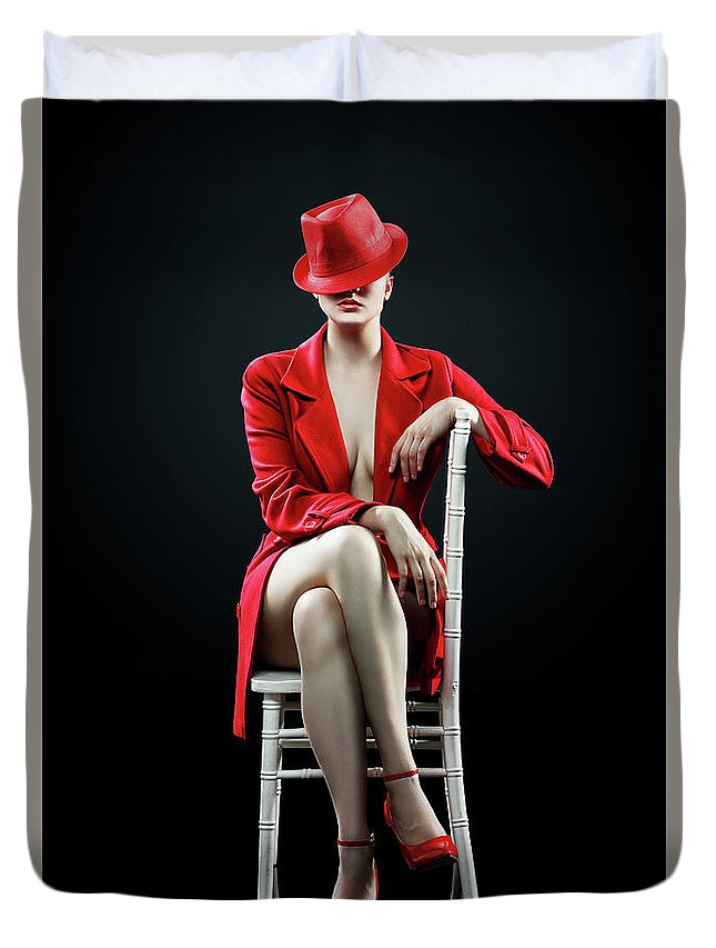 Woman Duvet Cover featuring the photograph Woman in red by Johan Swanepoel