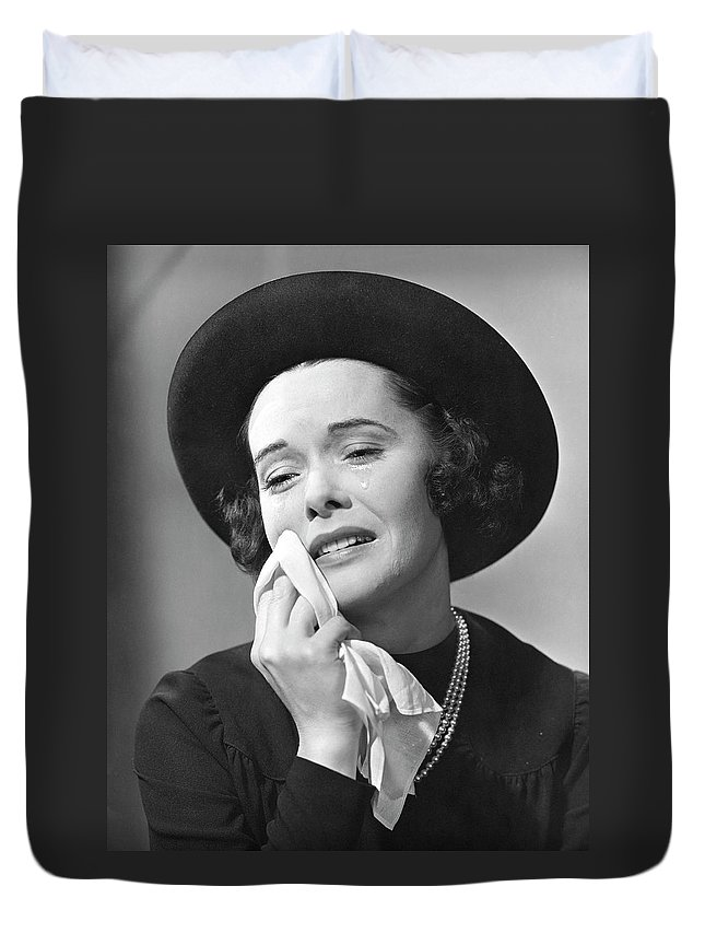 People Duvet Cover featuring the photograph Woman Mourning by George Marks