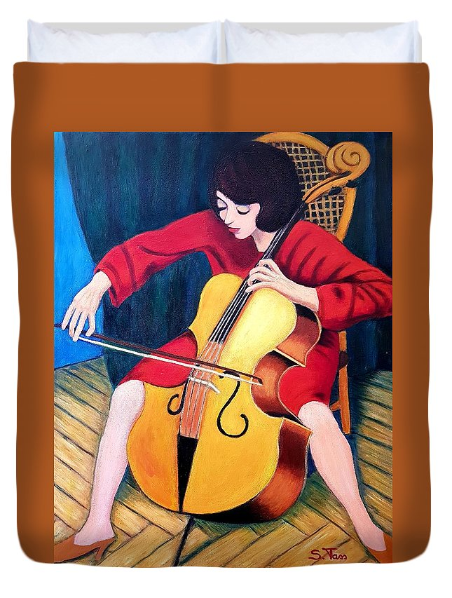 Figure Duvet Cover featuring the painting Woman Playing Cello - Bereny Robert Study by Sylvia Tass