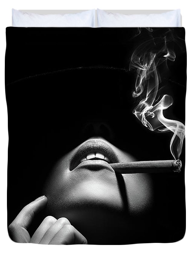 Woman Duvet Cover featuring the photograph Woman smoking a cigar by Johan Swanepoel