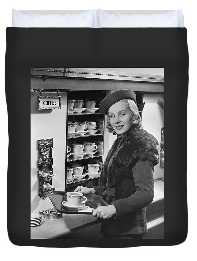 People Duvet Cover featuring the photograph Woman Wcoffee On Tray by George Marks