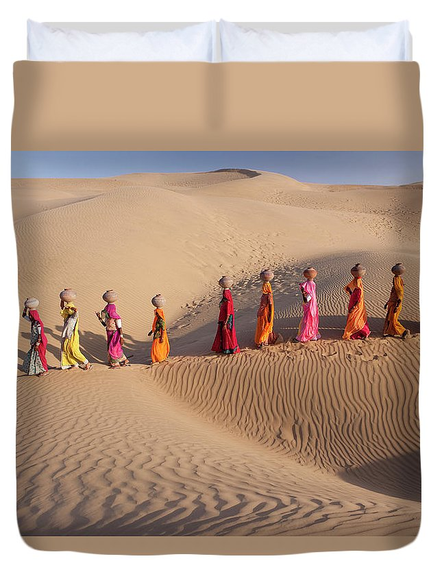 People Duvet Cover featuring the photograph Women Fetching Water From The Sparse by Mint Images - Art Wolfe