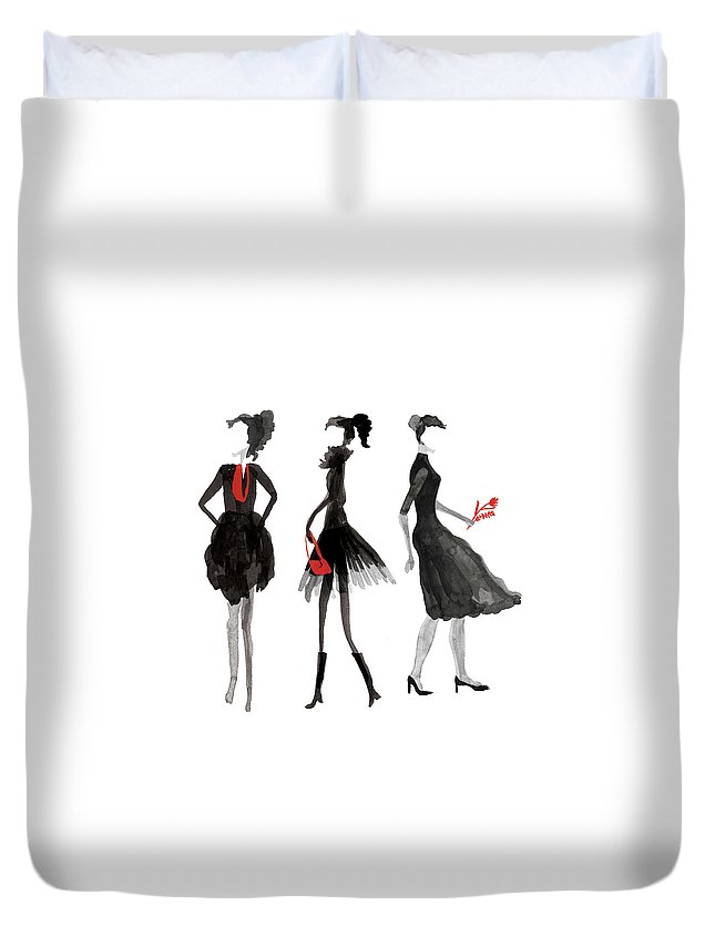 People Duvet Cover featuring the digital art Women Silhouettes by Catarina Bessell