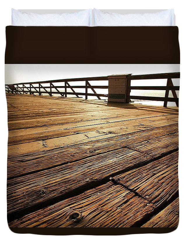 Scenics Duvet Cover featuring the photograph Wooden Pier by Timnewman