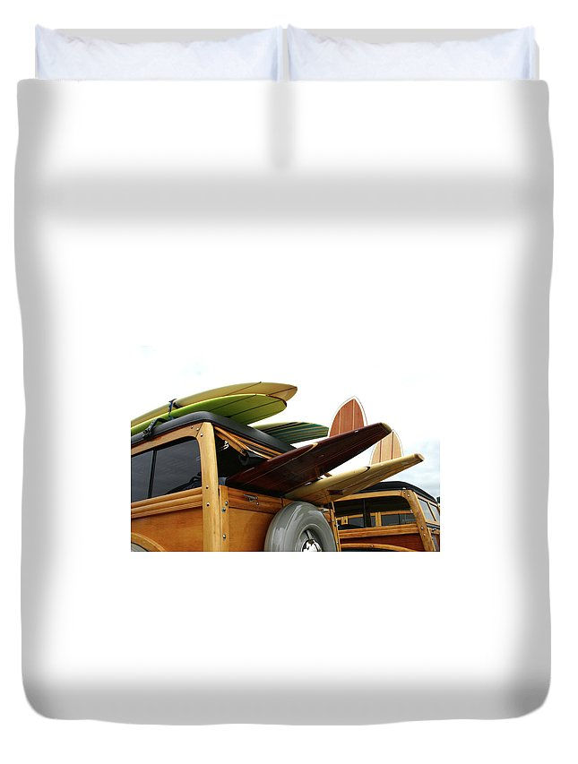 Adolescence Duvet Cover featuring the photograph Woodies On The Wharf by Mattabbe
