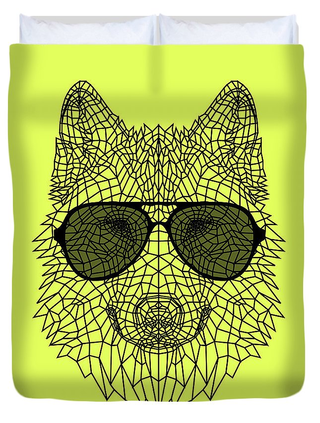 Wolf Duvet Cover featuring the digital art Woolf In Black Glasses by Naxart Studio