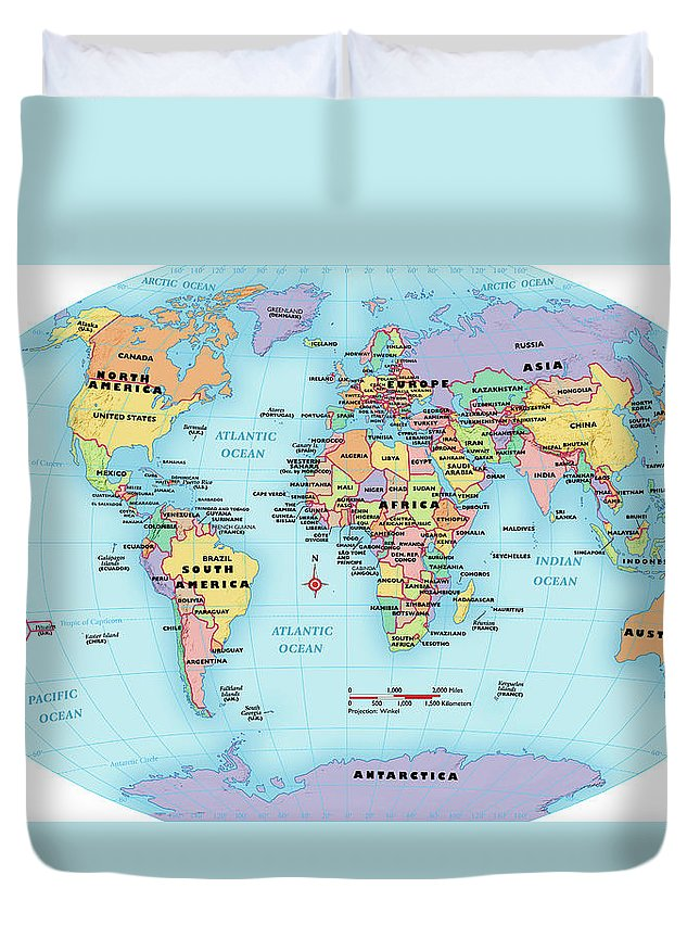 Horizontal Duvet Cover featuring the digital art World Map, Continent And Country Labels by Globe Turner, Llc