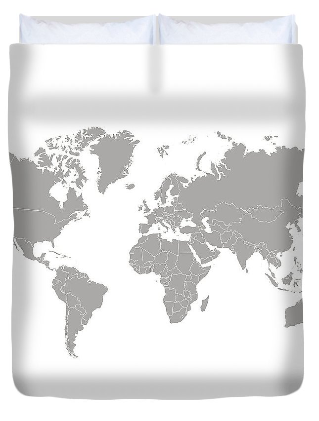 South America Duvet Cover featuring the digital art World Map Outline In Gray Color by Chokkicx