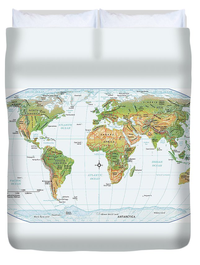 Equator Duvet Cover featuring the digital art World Map, Physical by Globe Turner, Llc