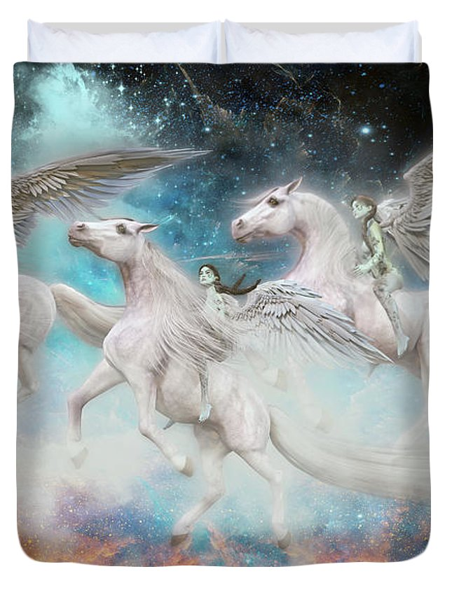 Angel Duvet Cover featuring the digital art Wrinkles In Time by Betsy Knapp