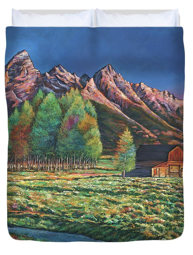 Landscape Art Duvet Cover featuring the painting Wyoming by Johnathan Harris