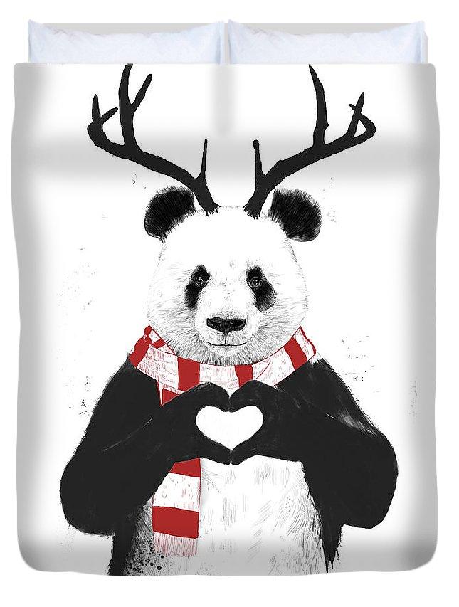 Panda Duvet Cover featuring the drawing Xmas panda by Balazs Solti