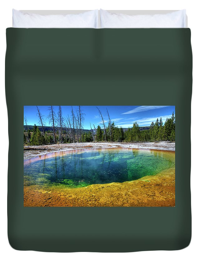 Morning Glory Pool Duvet Cover featuring the photograph Yellowstone Hot Spring by Dbushue Photography