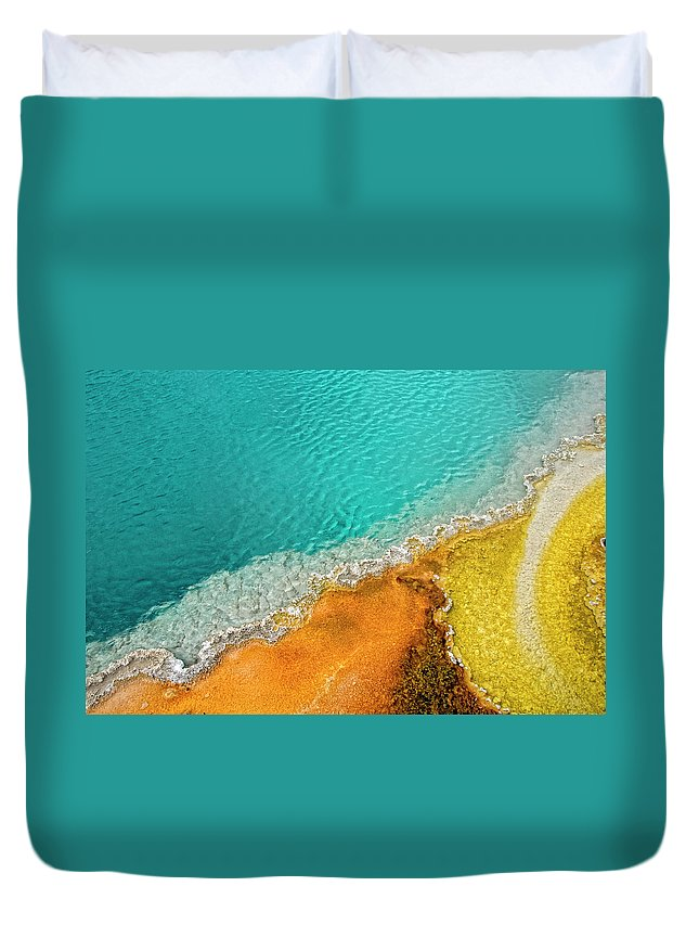 Geology Duvet Cover featuring the photograph Yellowstone West Thumb Thermal Pool by Bill Wight Ca