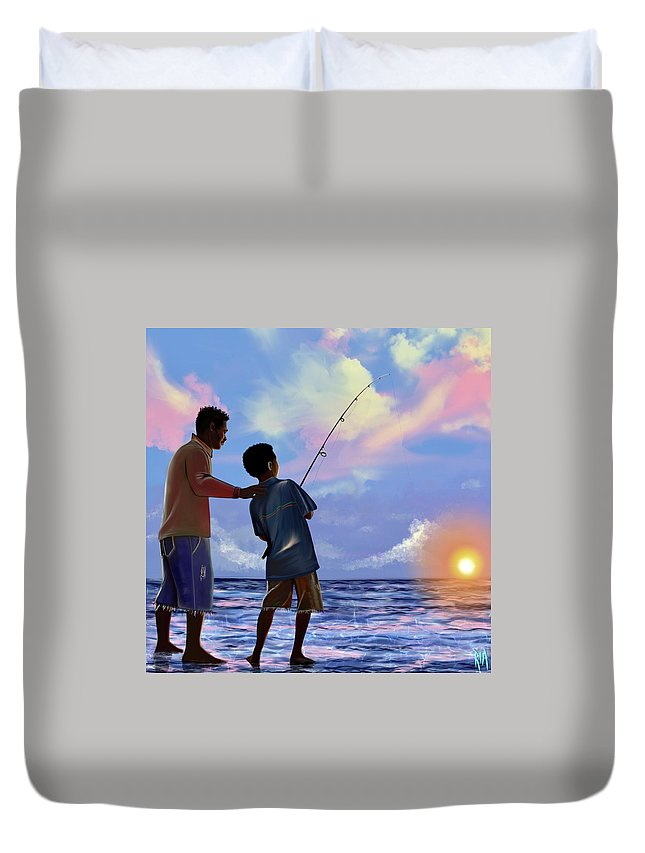 Fishing Duvet Cover featuring the digital art You make Him proud by Artist RiA