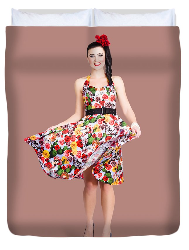 Dancer Duvet Cover featuring the photograph Young Beautiful Dancer Posing On Tan Background by Jorgo Photography - Wall Art Gallery