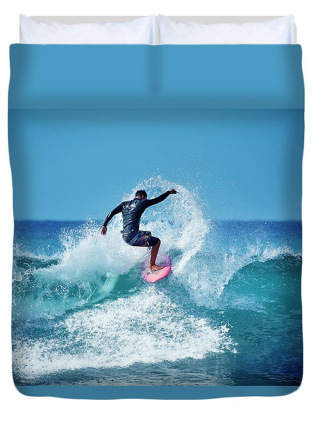 Young Men Duvet Cover featuring the photograph Young Male Surfer Surfing In The Water by Yinyang