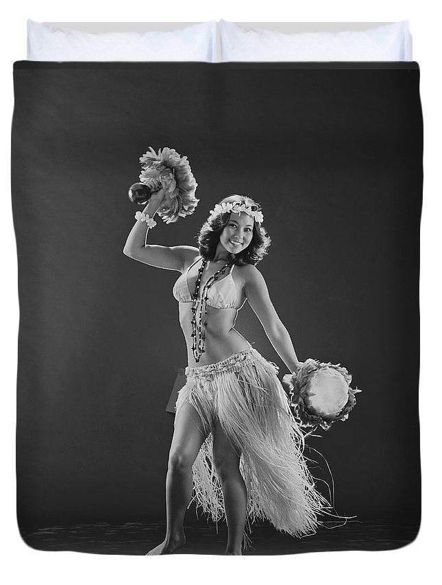 People Duvet Cover featuring the photograph Young Woman Hula Dancer With Feathered by Tom Kelley Archive
