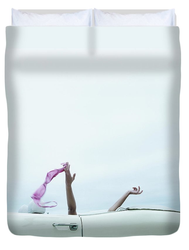 Young Men Duvet Cover featuring the photograph Young Woman In Convertible Car, Arms by Jerome Tisne