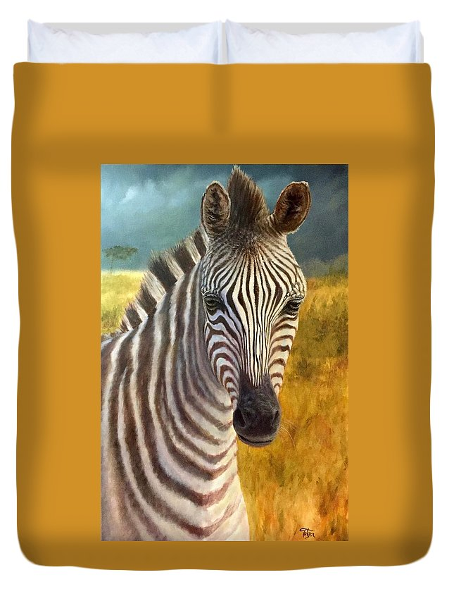 Art Duvet Cover featuring the painting Zebra by Tim Tietgen