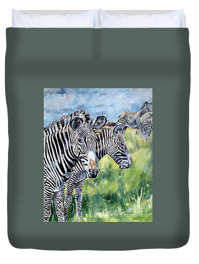 Zebra Duvet Cover featuring the painting Zebras by Maria Reichert