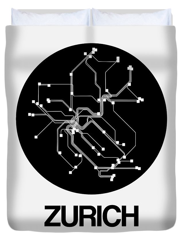 Vacation Duvet Cover featuring the digital art Zurich Black Subway Map by Naxart Studio
