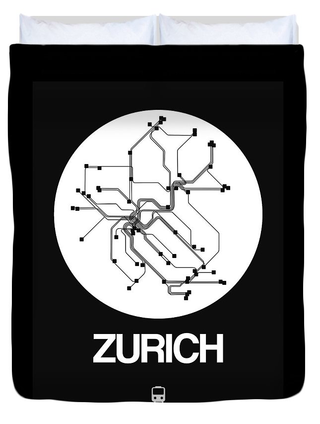 Duvet Cover featuring the digital art Zurich White Subway Map by Naxart Studio