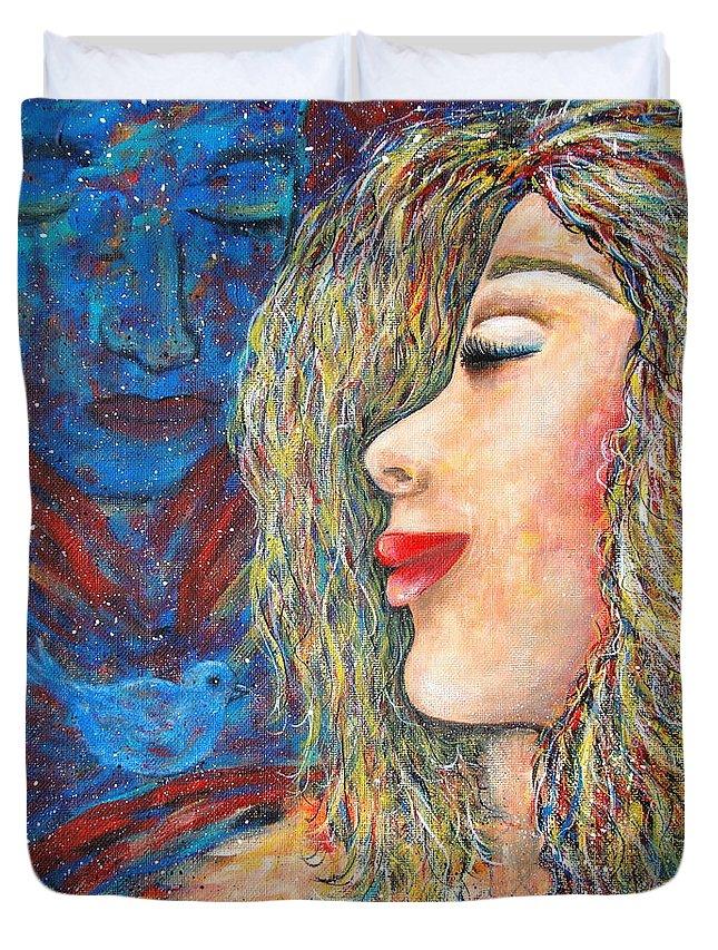 Man Duvet Cover featuring the painting Blue Bird Blue Bird by Natalie Holland