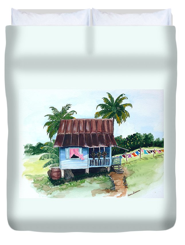 Landscape Painting Caribbean House Painting Blue House Painting Trinidad And Tobago Painting Greeting Card Painting Island Painting Tropical House Painting Blue Painting Duvet Cover featuring the painting Little Blue House by Karin Dawn Kelshall- Best
